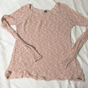 Light pink and white scoop neck sweater